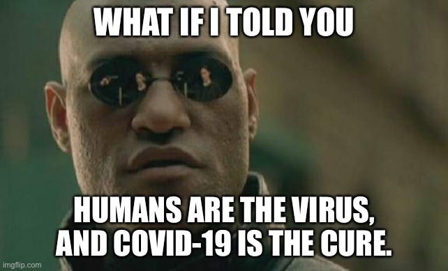 Humans are contagious |  WHAT IF I TOLD YOU; HUMANS ARE THE VIRUS, AND COVID-19 IS THE CURE. | image tagged in memes,matrix morpheus,human,sick,coronavirus,health care | made w/ Imgflip meme maker