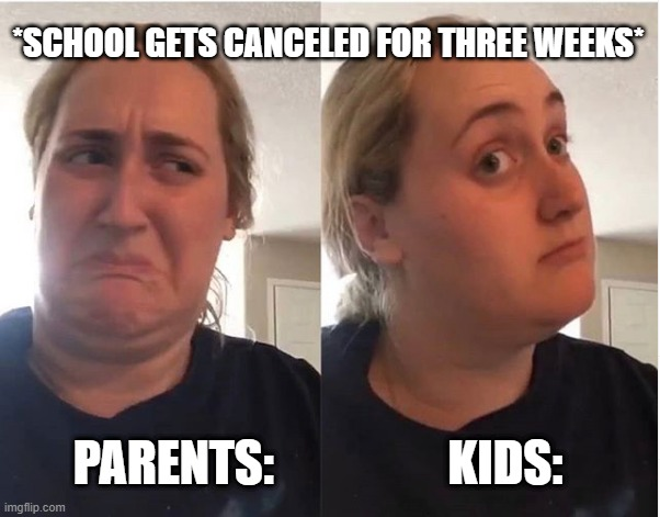 hmmm |  *SCHOOL GETS CANCELED FOR THREE WEEKS*; PARENTS:                  KIDS: | image tagged in hmmm | made w/ Imgflip meme maker
