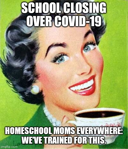 Mom |  SCHOOL CLOSING OVER COVID-19; HOMESCHOOL MOMS EVERYWHERE: WE'VE TRAINED FOR THIS. | image tagged in mom | made w/ Imgflip meme maker