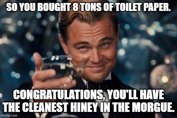Leonardo Dicaprio Cheers |  SO YOU BOUGHT 8 TONS OF TOILET PAPER. CONGRATULATIONS, YOU'LL HAVE THE CLEANEST HINEY IN THE MORGUE. | image tagged in memes,leonardo dicaprio cheers | made w/ Imgflip meme maker