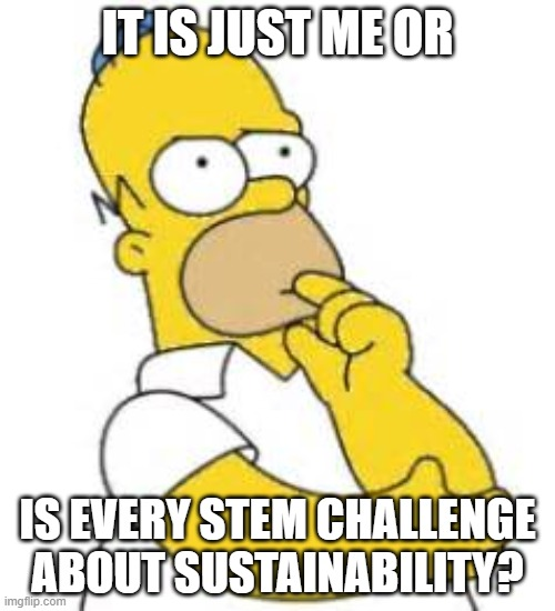 Homer Simpson Hmmmm |  IT IS JUST ME OR; IS EVERY STEM CHALLENGE ABOUT SUSTAINABILITY? | image tagged in homer simpson hmmmm | made w/ Imgflip meme maker