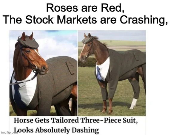 I'm sorry, I had to- |  Roses are Red, The Stock Markets are Crashing, | image tagged in horse,stock market,roses are red,poem,sorry not sorry,oh wow are you actually reading these tags | made w/ Imgflip meme maker