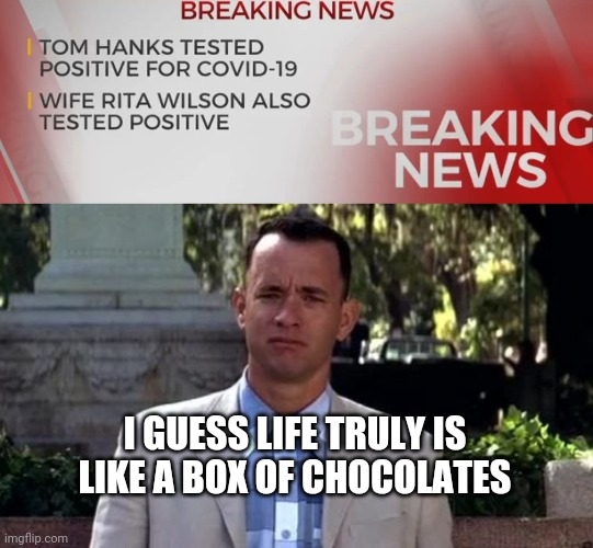 You never know what you're gonna get. |  I GUESS LIFE TRULY IS LIKE A BOX OF CHOCOLATES | image tagged in coronavirus,tom hanks,movies,breaking news,virus | made w/ Imgflip meme maker