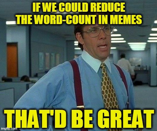 That Would Be Great | IF WE COULD REDUCE THE WORD-COUNT IN MEMES THAT'D BE GREAT | image tagged in memes,that would be great | made w/ Imgflip meme maker