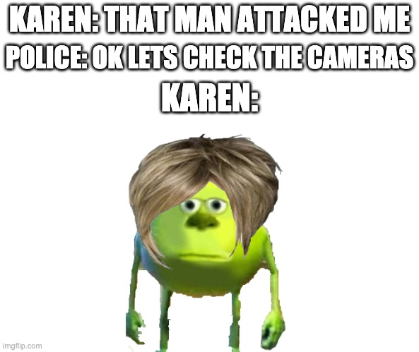karen meme |  KAREN: THAT MAN ATTACKED ME; POLICE: OK LETS CHECK THE CAMERAS; KAREN: | image tagged in karen meme,karen,mike wazowski,funny memes,meme,memes | made w/ Imgflip meme maker