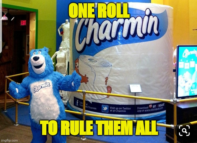 ONE ROLL; TO RULE THEM ALL | image tagged in big toilet paper | made w/ Imgflip meme maker