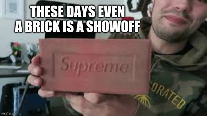 Supreme Bricks |  THESE DAYS EVEN A BRICK IS A SHOWOFF | image tagged in supreme,brick,funny memes | made w/ Imgflip meme maker