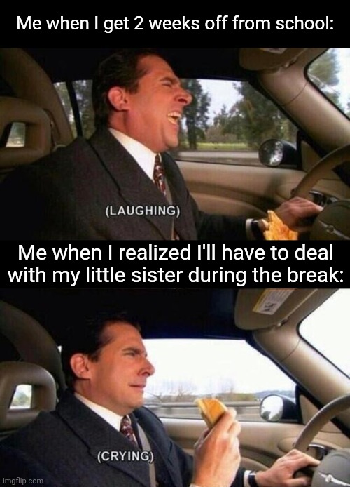Laughing Crying |  Me when I get 2 weeks off from school:; Me when I realized I'll have to deal with my little sister during the break: | image tagged in laughing crying | made w/ Imgflip meme maker