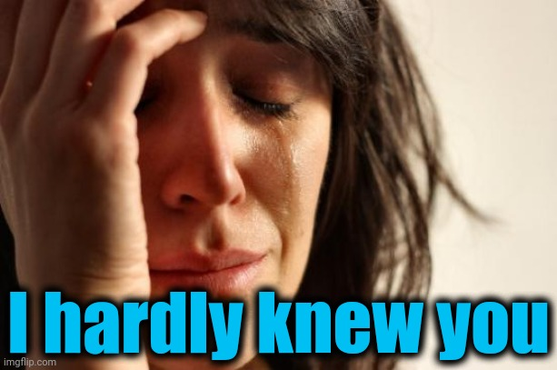 First World Problems Meme | I hardly knew you | image tagged in memes,first world problems | made w/ Imgflip meme maker