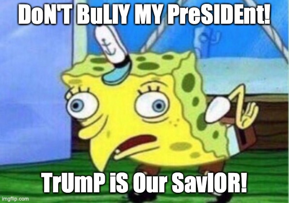 Mocking Spongebob |  DoN'T BuLlY MY PreSIDEnt! TrUmP iS Our SavIOR! | image tagged in memes,mocking spongebob | made w/ Imgflip meme maker