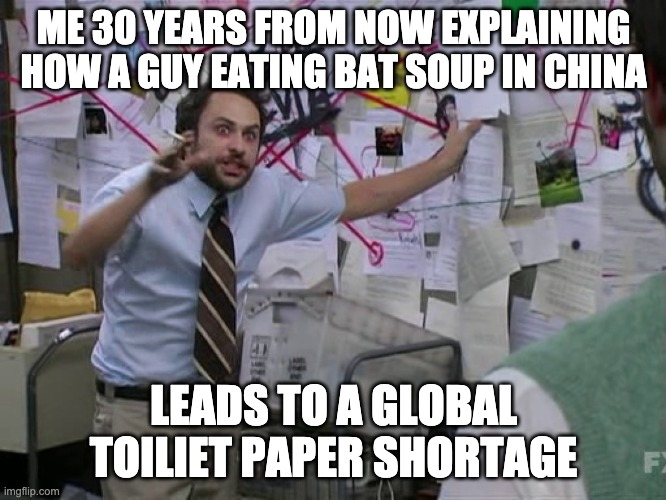 Charlie Conspiracy (Always Sunny in Philidelphia) | ME 30 YEARS FROM NOW EXPLAINING HOW A GUY EATING BAT SOUP IN CHINA LEADS TO A GLOBAL TOILIET PAPER SHORTAGE | image tagged in charlie conspiracy always sunny in philidelphia | made w/ Imgflip meme maker