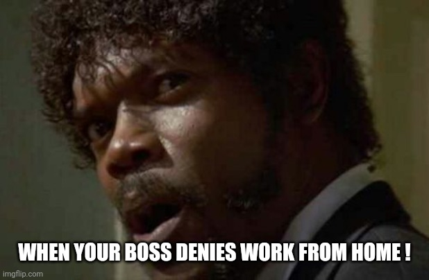 Samuel Jackson Glance |  WHEN YOUR BOSS DENIES WORK FROM HOME ! | image tagged in memes,samuel jackson glance | made w/ Imgflip meme maker