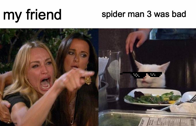 Woman Yelling At Cat Meme | my friend spider man 3 was bad | image tagged in memes,woman yelling at cat | made w/ Imgflip meme maker