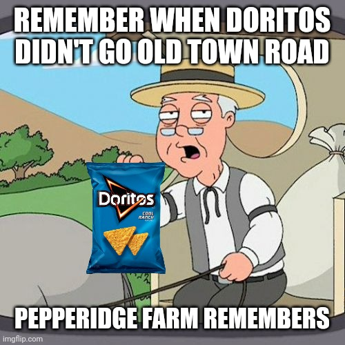 Seriously Frito Lay, your super bowl commercial sucked | REMEMBER WHEN DORITOS DIDN'T GO OLD TOWN ROAD PEPPERIDGE FARM REMEMBERS | image tagged in memes,pepperidge farm remembers,doritos | made w/ Imgflip meme maker