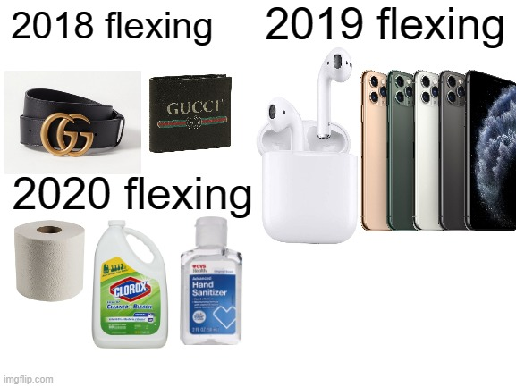 2020 flexing |  2019 flexing; 2018 flexing; 2020 flexing | image tagged in blank white template,flexing,flex,funny,memes,2019 | made w/ Imgflip meme maker