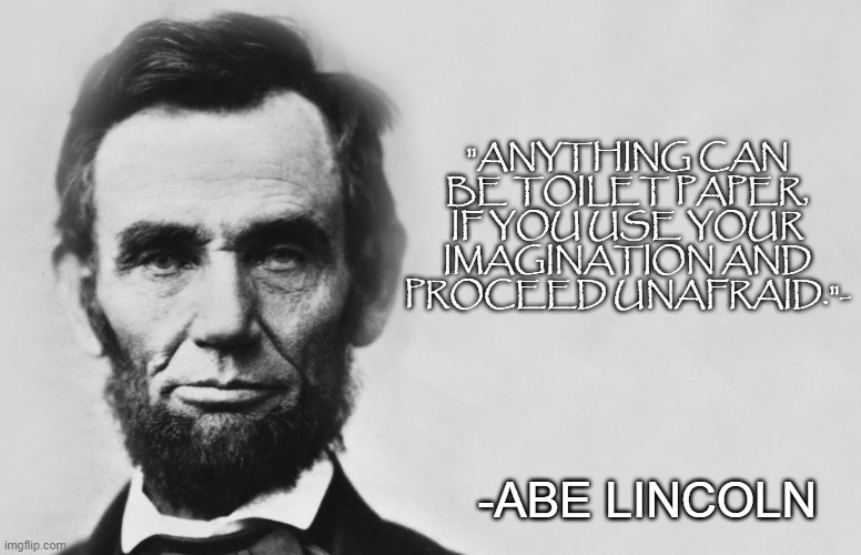 "Abe knows |  ""ANYTHING CAN BE TOILET PAPER, IF YOU USE YOUR IMAGINATION AND PROCEED UNAFRAID.""-; -ABE LINCOLN 