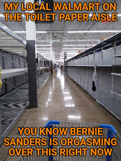 You know he's loving this right now. Loves seeing empty grocery shelves and bread lines. |  MY LOCAL WALMART ON THE TOILET PAPER AISLE; YOU KNOW BERNIE SANDERS IS ORGASMING OVER THIS RIGHT NOW | image tagged in memes,coronavirus,toilet paper,socialism,communism,bernie sanders | made w/ Imgflip meme maker