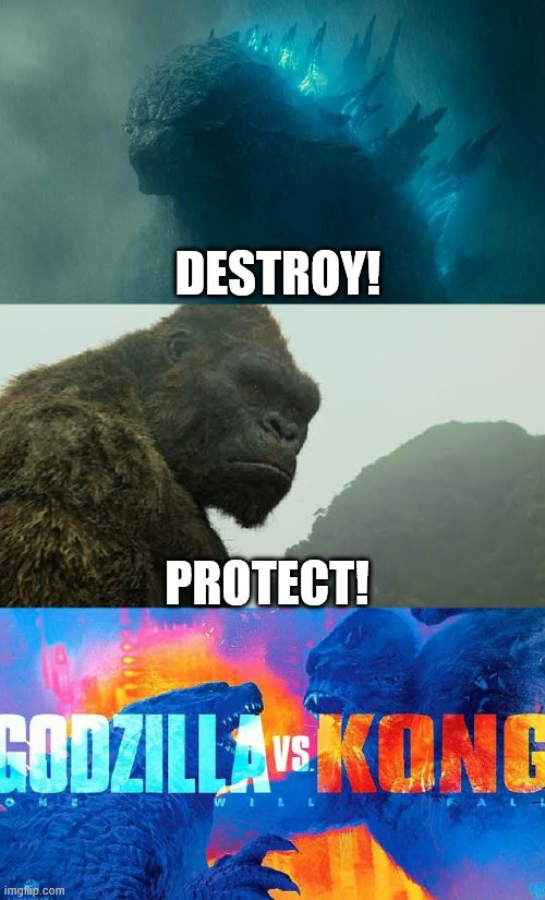 DESTROY! PROTECT! | image tagged in godzilla vs kong | made w/ Imgflip meme maker