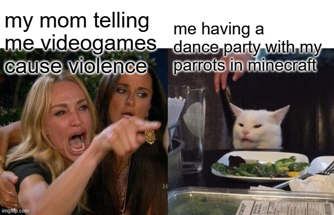 Woman Yelling At Cat Meme | my mom telling me videogames cause violence me having a dance party with my parrots in minecraft | image tagged in memes,woman yelling at cat | made w/ Imgflip meme maker