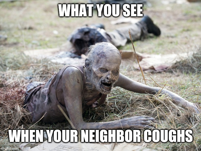 The Walking Dead Crawling Zombie |  WHAT YOU SEE; WHEN YOUR NEIGHBOR COUGHS | image tagged in the walking dead crawling zombie | made w/ Imgflip meme maker