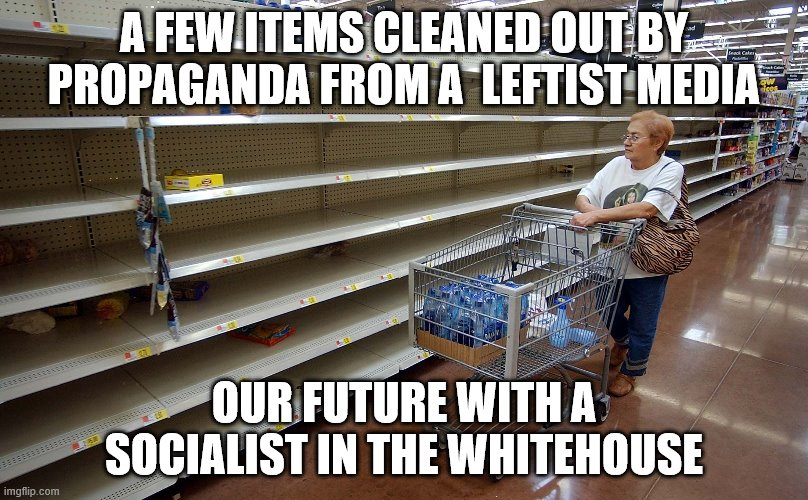 Empty shelves |  A FEW ITEMS CLEANED OUT BY PROPAGANDA FROM A  LEFTIST MEDIA; OUR FUTURE WITH A SOCIALIST IN THE WHITEHOUSE | image tagged in empty shelves | made w/ Imgflip meme maker