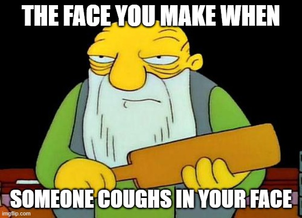 That's a paddlin' | THE FACE YOU MAKE WHEN SOMEONE COUGHS IN YOUR FACE | image tagged in memes,that's a paddlin' | made w/ Imgflip meme maker