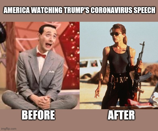 AMERICA WATCHING TRUMP'S CORONAVIRUS SPEECH BEFORE                          AFTER | image tagged in aloof vs apocalypse | made w/ Imgflip meme maker