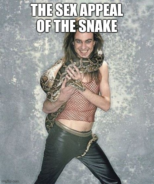 Fabulous Frank And His Snake Meme | THE SEX APPEAL OF THE SNAKE | image tagged in memes,fabulous frank and his snake | made w/ Imgflip meme maker