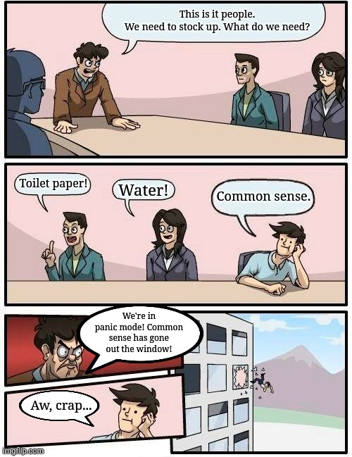 Boardroom Meeting Suggestion Meme | This is it people.  We need to stock up. What do we need? Toilet paper! Water! Common sense. We're in panic mode! Common sense has gone out  | image tagged in memes,boardroom meeting suggestion | made w/ Imgflip meme maker