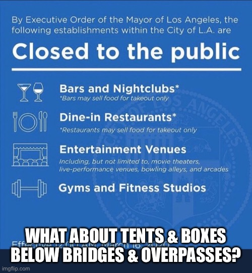 WHAT ABOUT TENTS & BOXES BELOW BRIDGES & OVERPASSES? | image tagged in la proclamation | made w/ Imgflip meme maker