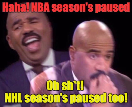 Steve Harvey Laughing Serious |  Haha! NBA season's paused; Oh sh*t!  NHL season's paused too! | image tagged in steve harvey laughing serious,nhl,nba,coronavirus,memes,sports | made w/ Imgflip meme maker