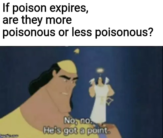 no no hes got a point |  If poison expires, are they more poisonous or less poisonous? | image tagged in no no hes got a point,poison,question,effect,memes | made w/ Imgflip meme maker