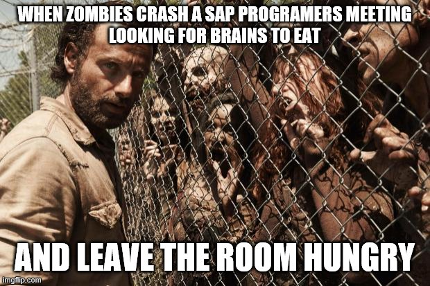 zombies | WHEN ZOMBIES CRASH A SAP PROGRAMERS MEETING LOOKING FOR BRAINS TO EAT AND LEAVE THE ROOM HUNGRY | image tagged in zombies | made w/ Imgflip meme maker