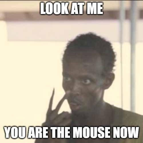 Look At Me Meme | LOOK AT ME YOU ARE THE MOUSE NOW | image tagged in memes,look at me | made w/ Imgflip meme maker