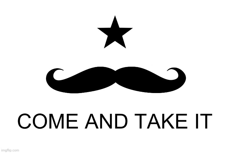 image tagged in texas,come and take it,moustache | made w/ Imgflip meme maker