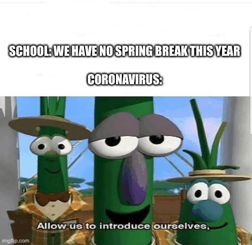 Allow us to introduce ourselves |  SCHOOL: WE HAVE NO SPRING BREAK THIS YEAR    CORONAVIRUS: | image tagged in allow us to introduce ourselves | made w/ Imgflip meme maker
