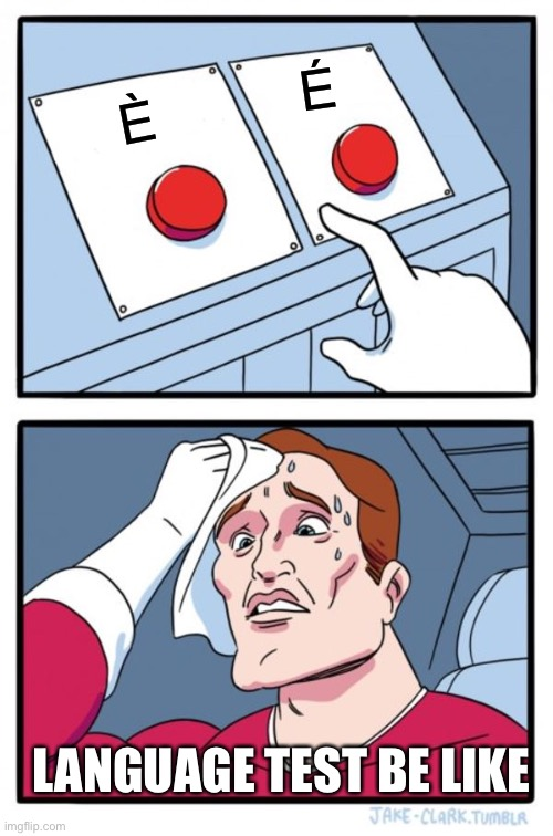 Two Buttons Meme | È É LANGUAGE TEST BE LIKE | image tagged in memes,two buttons | made w/ Imgflip meme maker