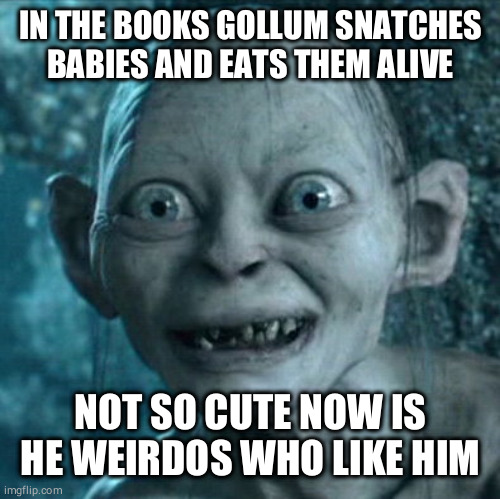 Gollum Meme | IN THE BOOKS GOLLUM SNATCHES BABIES AND EATS THEM ALIVE NOT SO CUTE NOW IS HE WEIRDOS WHO LIKE HIM | image tagged in memes,gollum | made w/ Imgflip meme maker