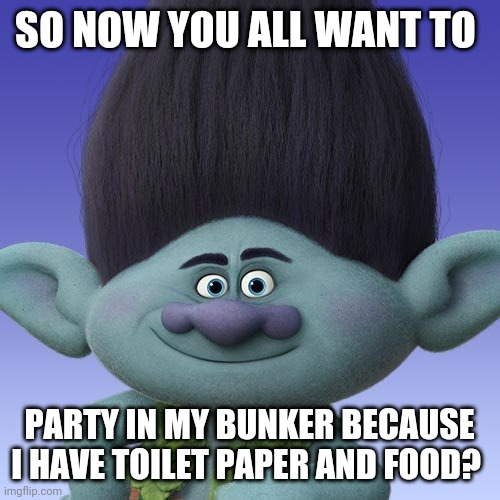 How now brown cow? | SO NOW YOU ALL WANT TO PARTY IN MY BUNKER BECAUSE I HAVE TOILET PAPER AND FOOD? | image tagged in trolls branch,coronavirus,2020,prepper,bunker | made w/ Imgflip meme maker