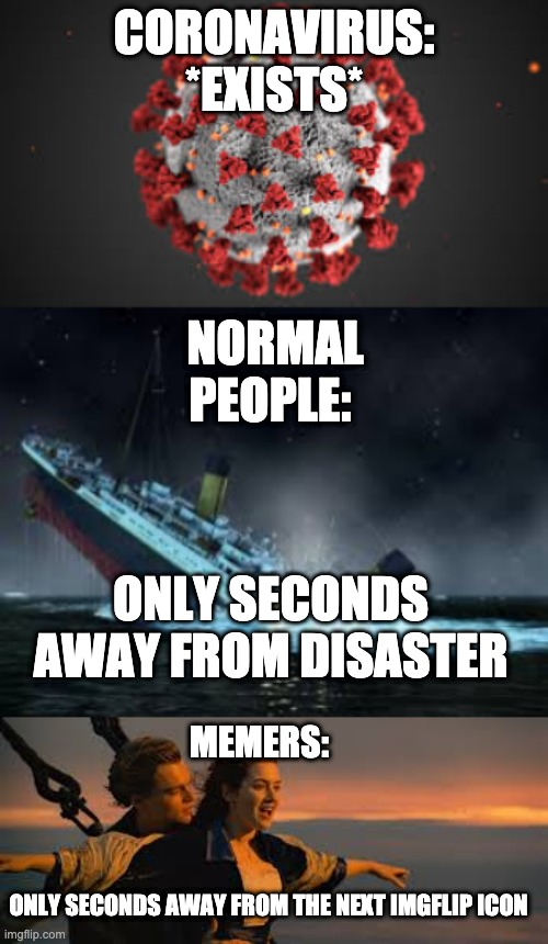 Another coronavirus meme | CORONAVIRUS: *EXISTS* NORMAL PEOPLE: ONLY SECONDS AWAY FROM DISASTER MEMERS: ONLY SECONDS AWAY FROM THE NEXT IMGFLIP ICON | image tagged in memes,coronavirus | made w/ Imgflip meme maker