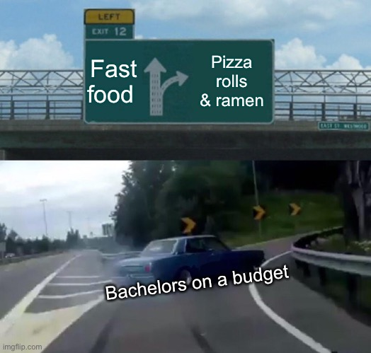 Left Exit 12 Off Ramp Meme | Fast food Pizza rolls & ramen Bachelors on a budget | image tagged in memes,left exit 12 off ramp | made w/ Imgflip meme maker