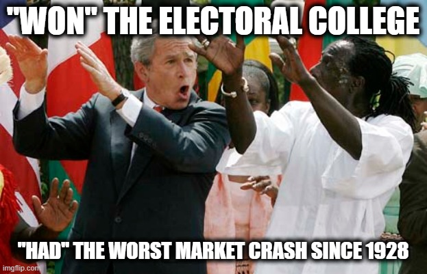 "End  the  electoral  college   now | ""WON"" THE ELECTORAL COLLEGE ""HAD"" THE WORST MARKET CRASH SINCE 1928 