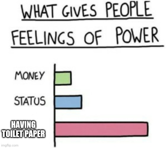 What Gives People Feelings of Power | HAVING TOILET PAPER | image tagged in what gives people feelings of power | made w/ Imgflip meme maker