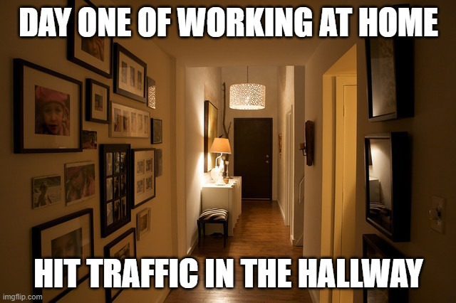 Working from Home |  DAY ONE OF WORKING AT HOME; HIT TRAFFIC IN THE HALLWAY | image tagged in work,home,traffic | made w/ Imgflip meme maker
