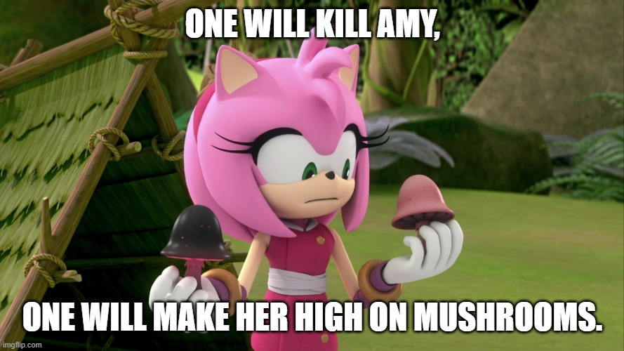 Make a choice |  ONE WILL KILL AMY, ONE WILL MAKE HER HIGH ON MUSHROOMS. | image tagged in mushrooms | made w/ Imgflip meme maker