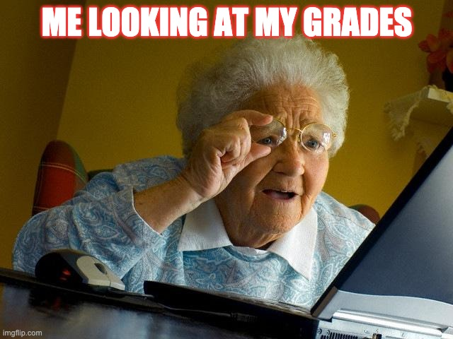 Grandma Finds The Internet Meme | ME LOOKING AT MY GRADES | image tagged in memes,grandma finds the internet | made w/ Imgflip meme maker