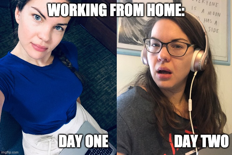 WORKING FROM HOME: DAY ONE                        DAY TWO | image tagged in working from home,covid-19,covid19,coronavirus,teaching online,social distancing | made w/ Imgflip meme maker