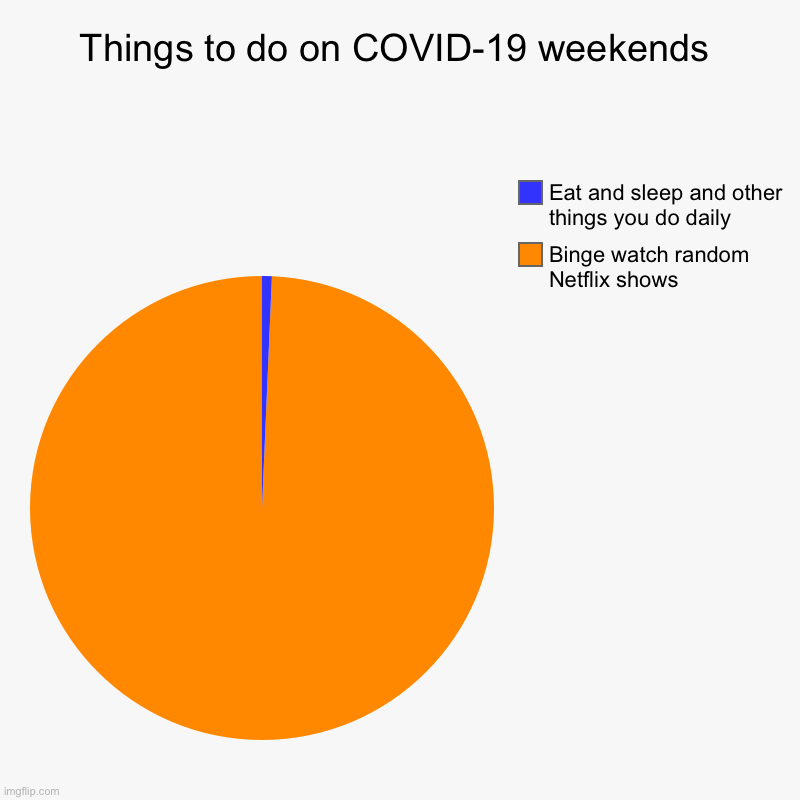 Things to do on COVID-19 weekends | Binge watch random Netflix shows , Eat and sleep and other things you do daily | image tagged in charts,pie charts | made w/ Imgflip chart maker