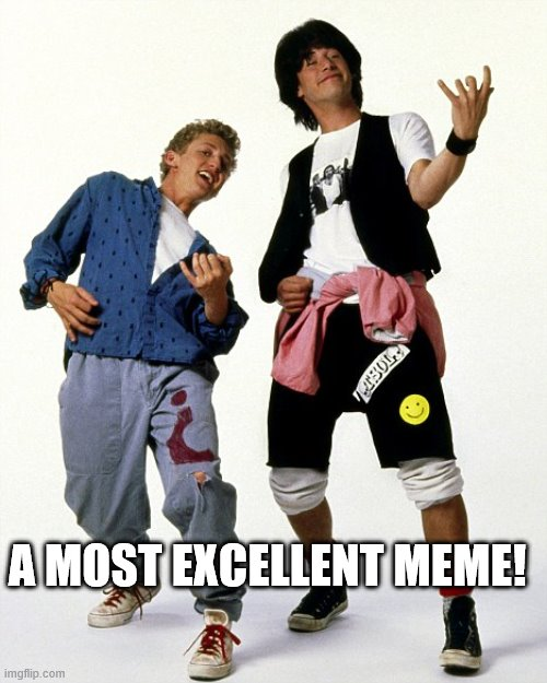 Bill & Ted air guitar | A MOST EXCELLENT MEME! | image tagged in bill  ted air guitar,double standards | made w/ Imgflip meme maker