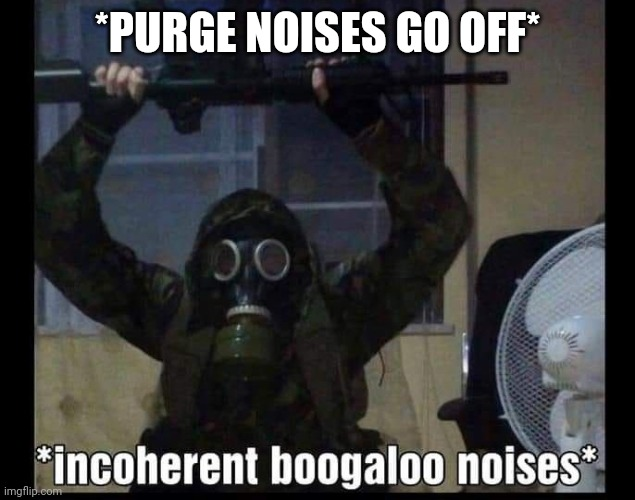 Boogaloo | *PURGE NOISES GO OFF* | image tagged in boogaloo | made w/ Imgflip meme maker